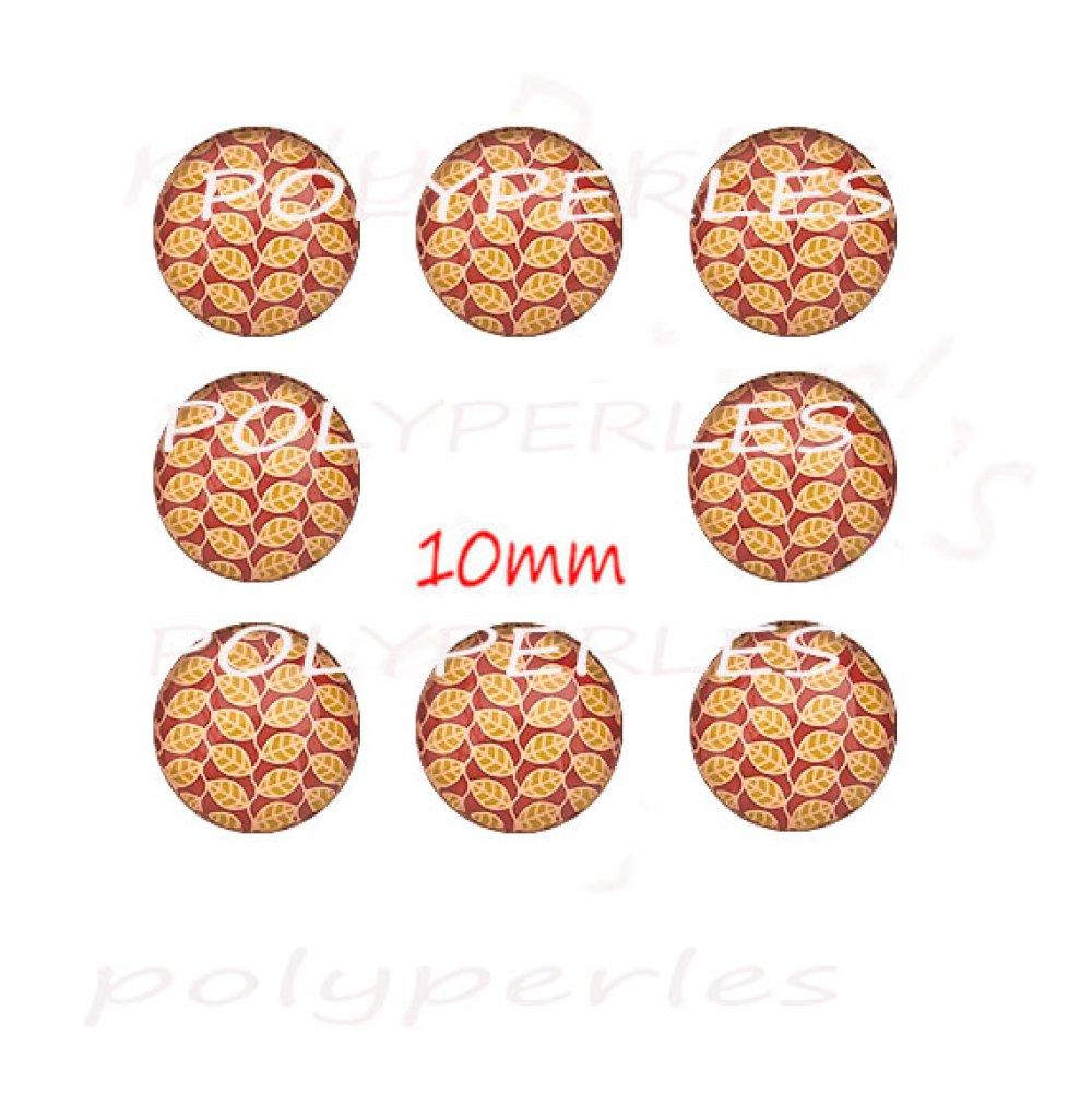 8 pcs cabochons verres ronds 10mm
