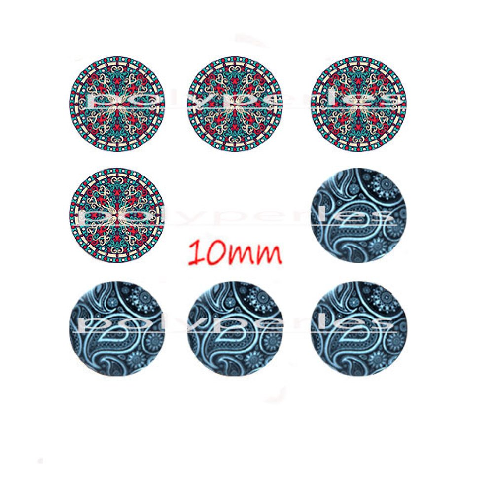 8 pcs cabochons verres ronds 10mm