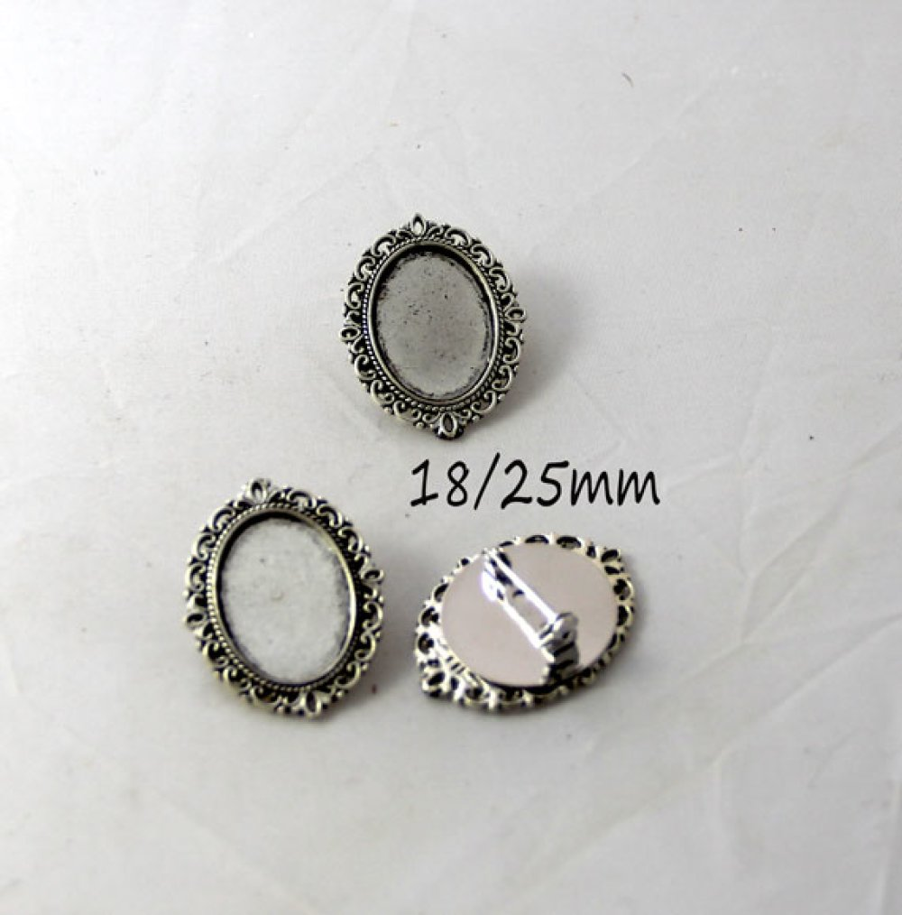 1 Broche argent cabochon ovale 18/25mm