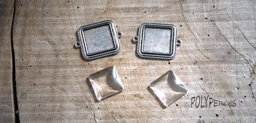 1 Support de pendentif connecteur carré 25mm Argent platine et 1 cabochon verre 25mm