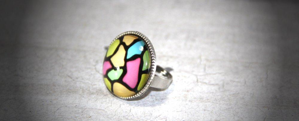 Bague cabochon verre 25mm fantaisie multicolore