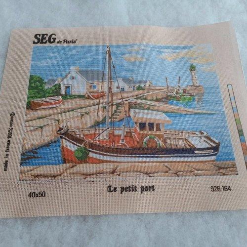 Canevas toile pénélope petit port mer ref 926.164 seg de paris