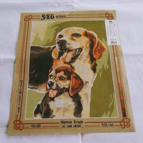 Canevas toile pénélope maman beagle chiot ref 926.148 seg de paris