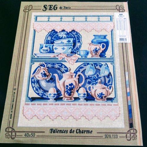 Canevas toile pénélope faîences de charme cuisine ref 926.133 seg de paris