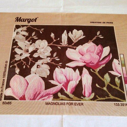 Canevas toile pénélope magnolias for ever fleurs ref 133.3514 margot de paris