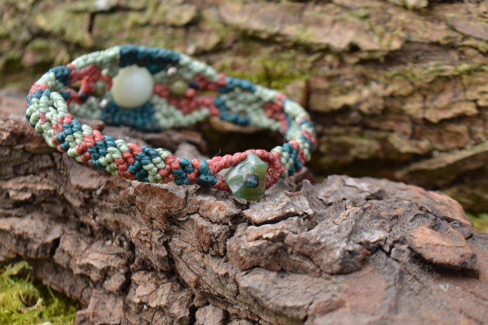 "Bracelet ""Seiki"" en macramé et pierres amazonite"