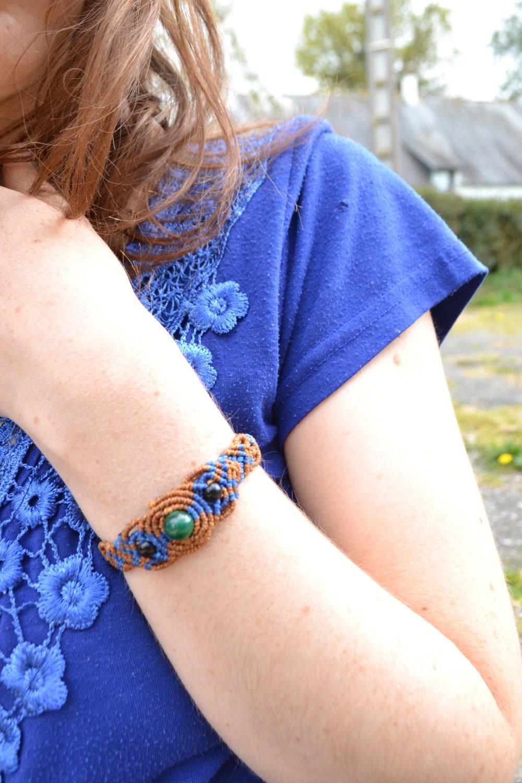 """Bracelet """"Seiki"""" en macramé et pierre malachite"""