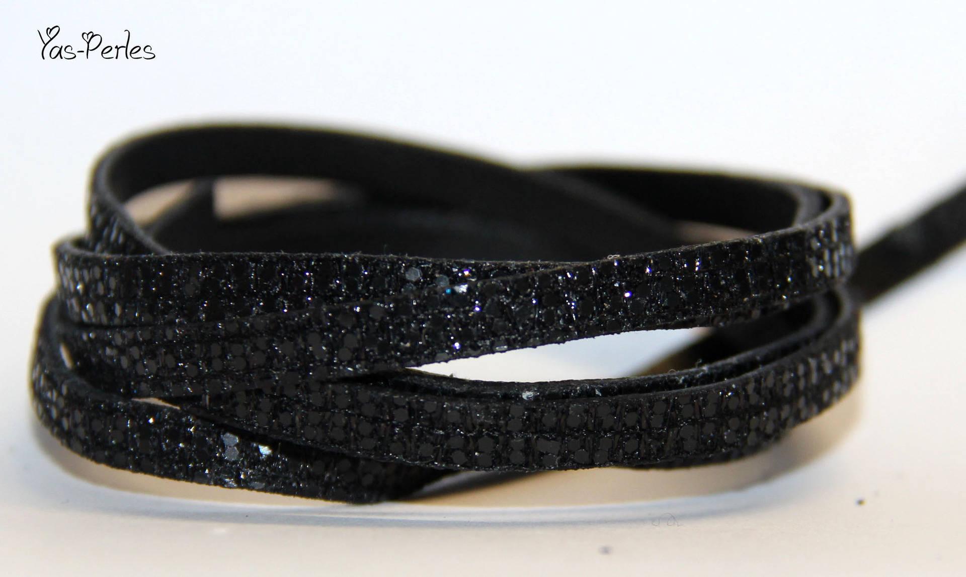 Lanière cuir plat noire glitter 5mm