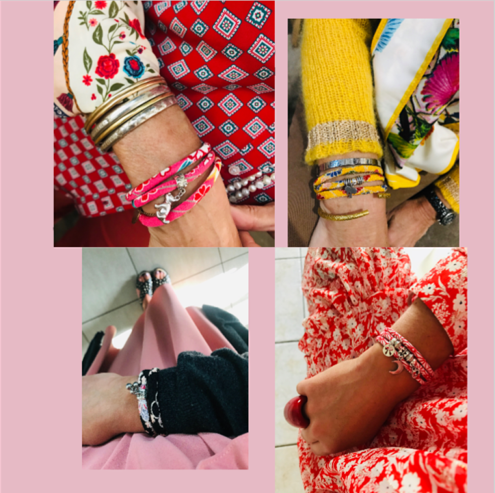 Bracelet fantaisie en cordon japonais Chirimen rose orangé / Motif traditionnel fleurs / Breloque os en strass et patte de chien rose