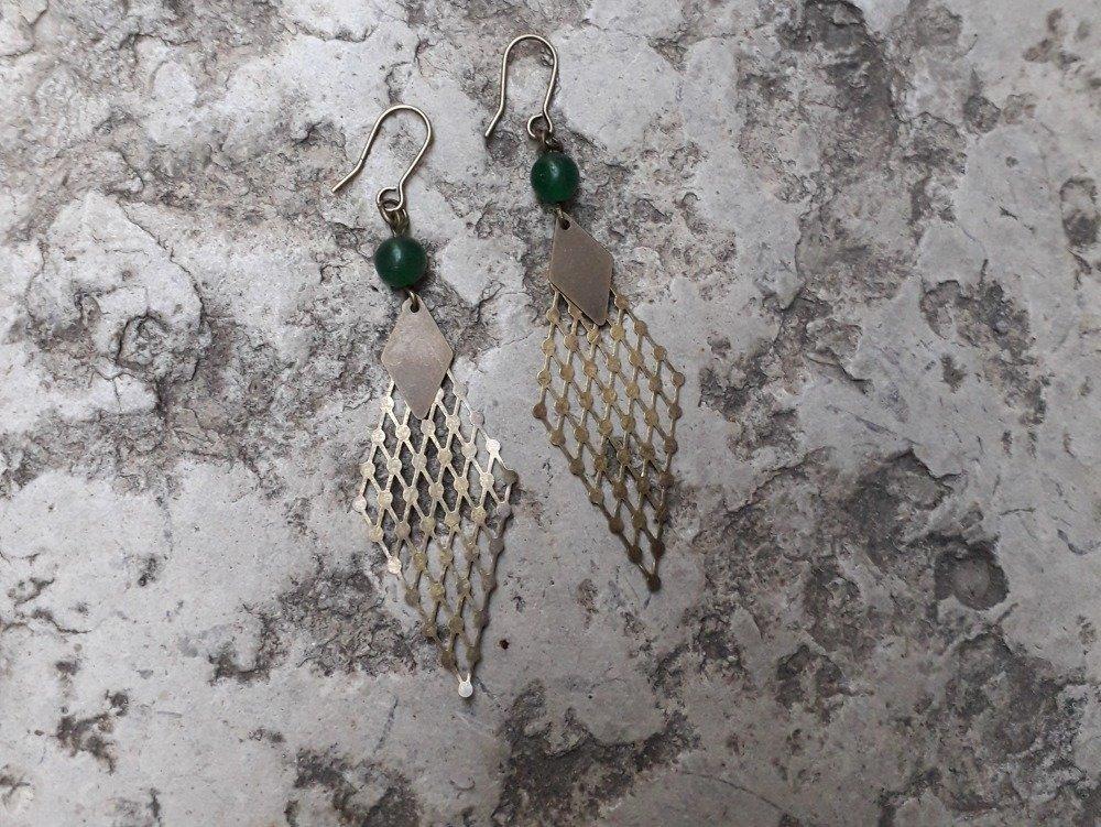 Boucles d'oreilles bohemes bronze et jade