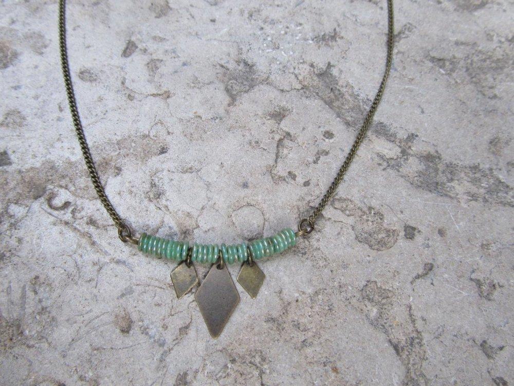 Collier bronze et vert Poka