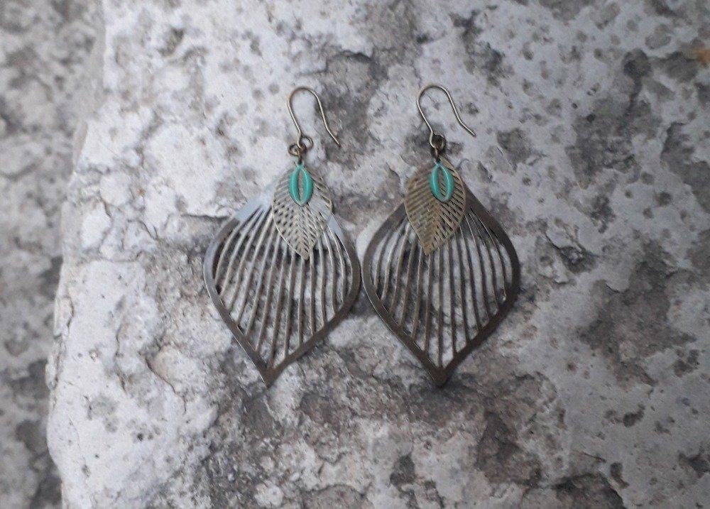 Boucles d'oreille bohème bronze et bleu