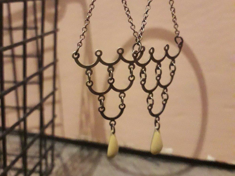 Boucles d'oreilles vintage moutarde