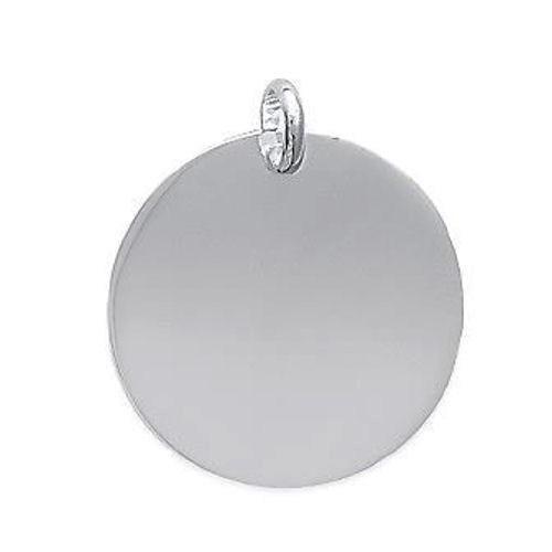 Pendentif fine médaille argent 925 à graver diamètre 22 mm avec anneau ouvert