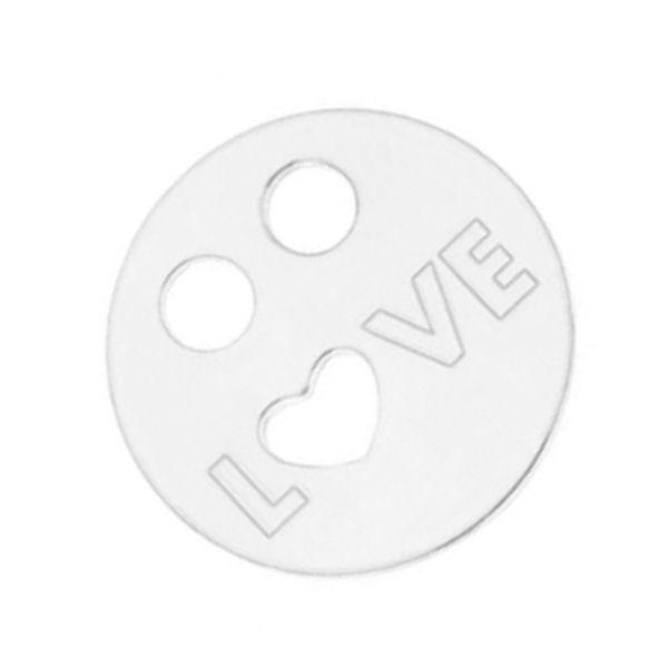 Breloque argent 925 love coeur ajouré et gravure médaille ronde 14 mm 2 trous pour insertion chaine