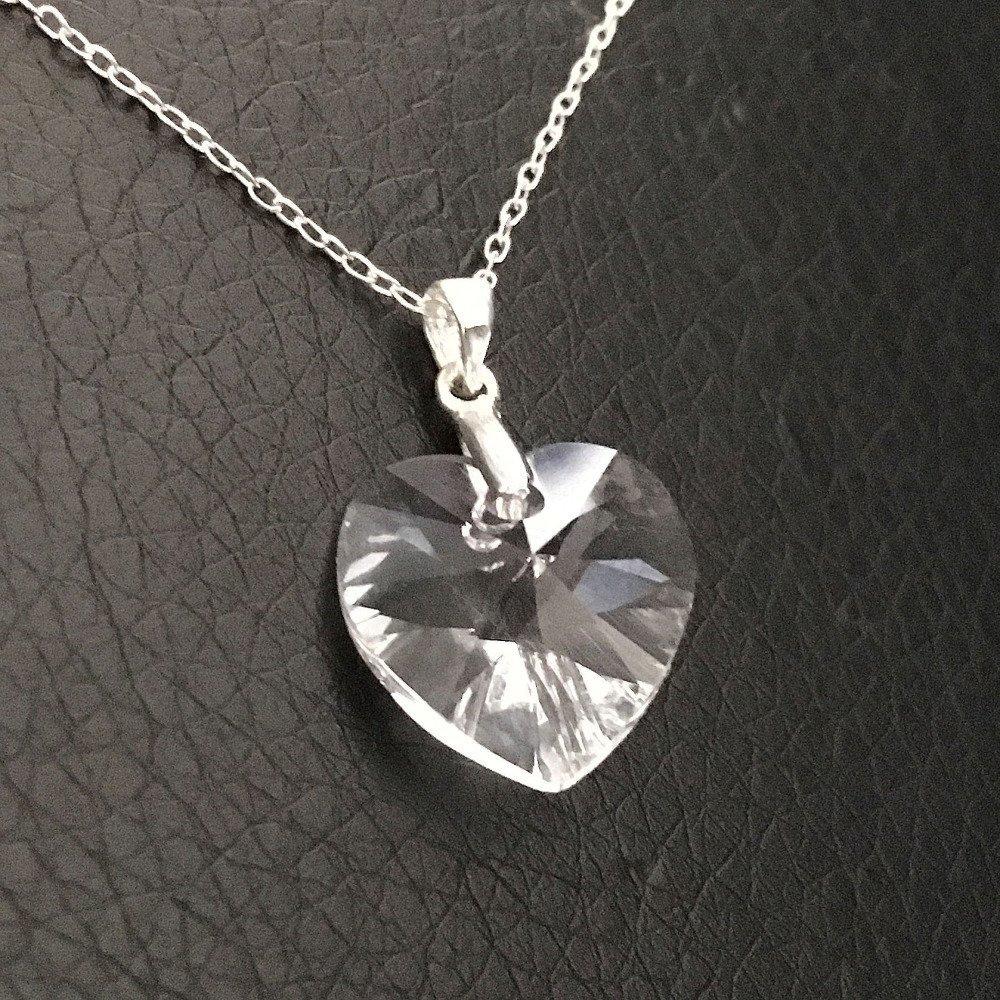 Collier pendentif coeur cristal swarovski en argent 925/000 sur fine chaine  longueur 42 cm