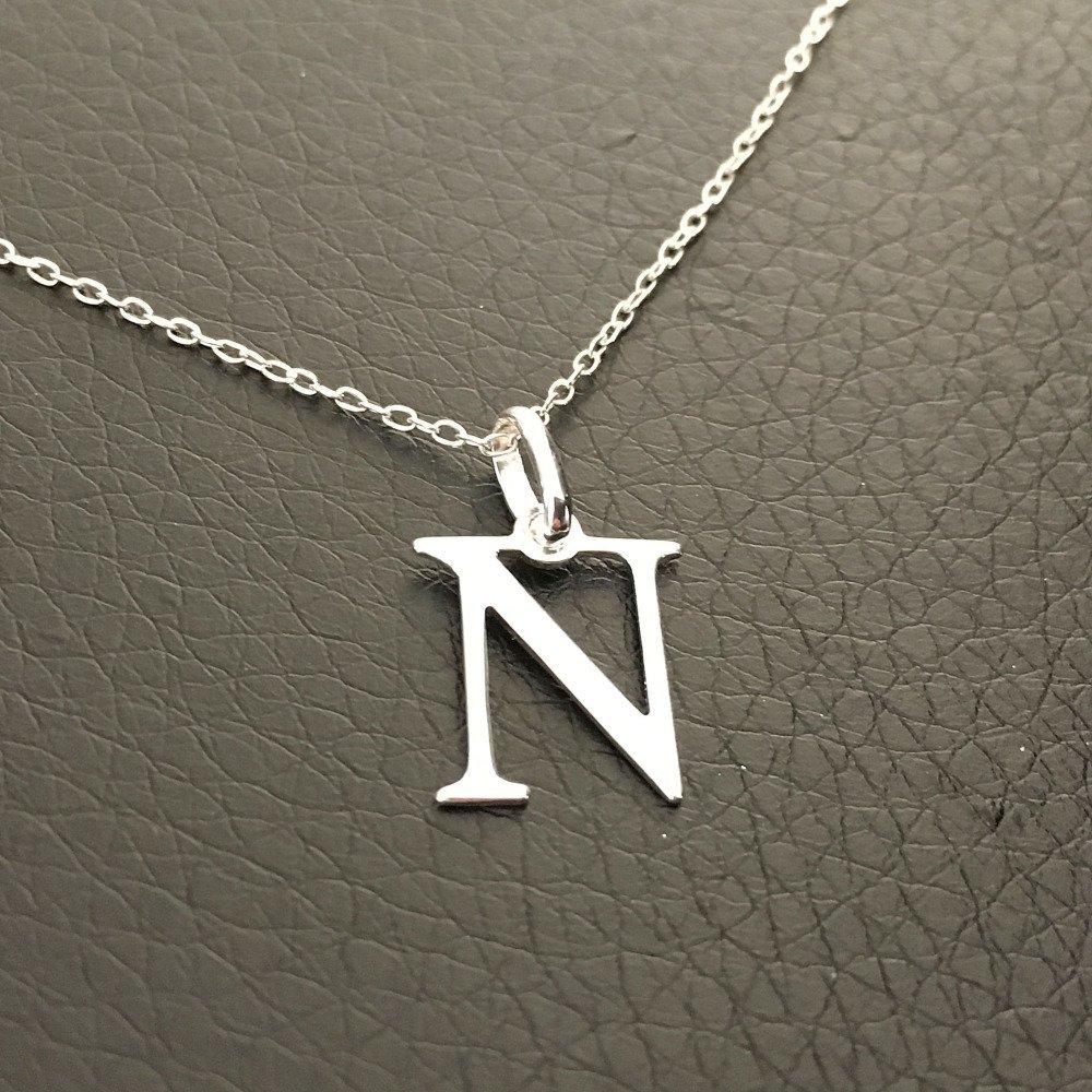Collier initiale argent 925/000 pendentif lettre N sur fine chaine longueur 42 cm argent 925