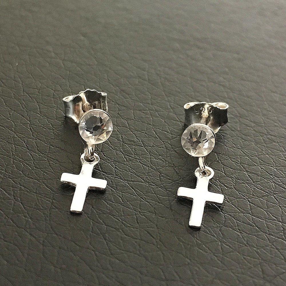 Boucles d'oreilles argent 925/000 clous puces cristal Swarovski pendants petites croix