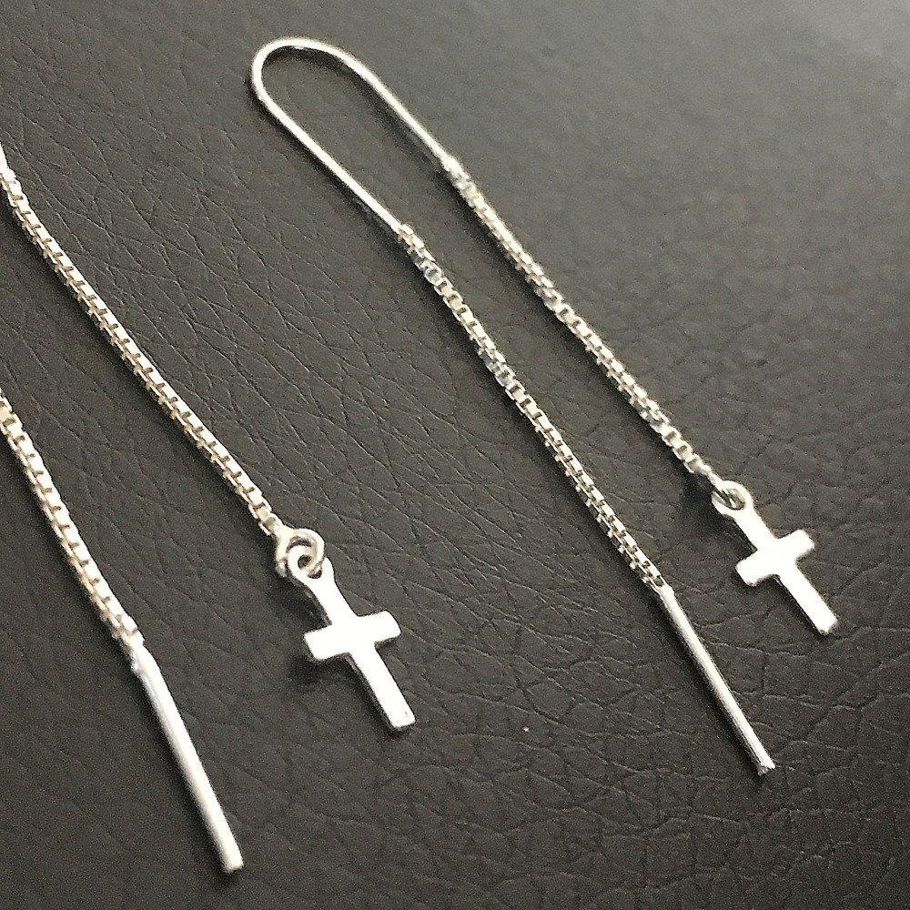 Boucles d'oreilles chainettes en argent 925/000 pendants petites croix