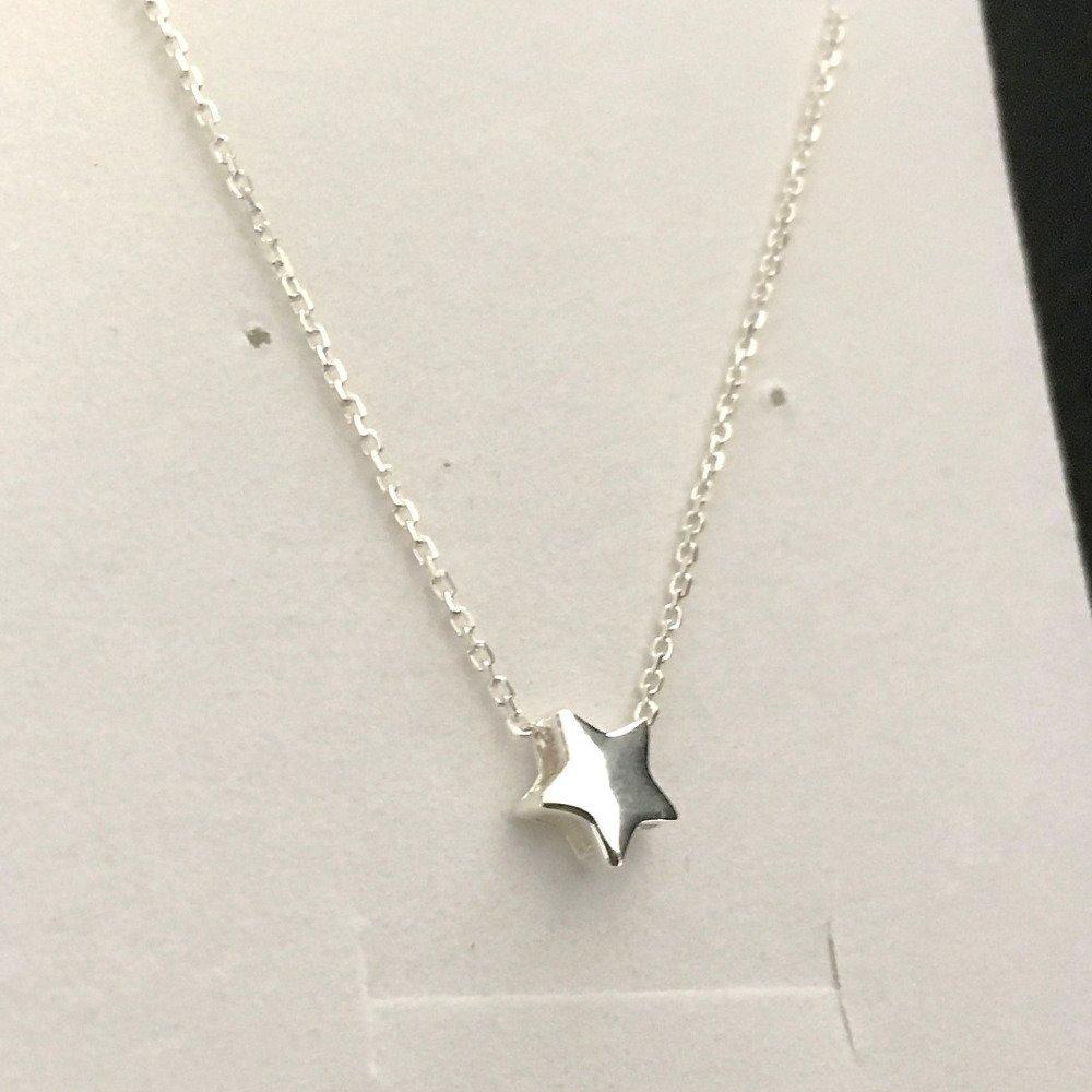 Collier argent 925/000 pendentif petite étoile sur fine chaine ras de cou 38 cm