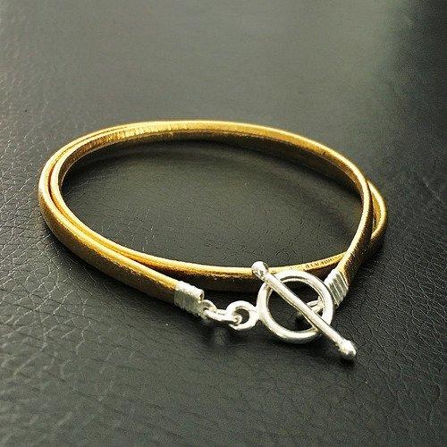 Bracelet cuir bronze et argent 925 2 rangs fermoir T ou collier ras de cou 2 en1