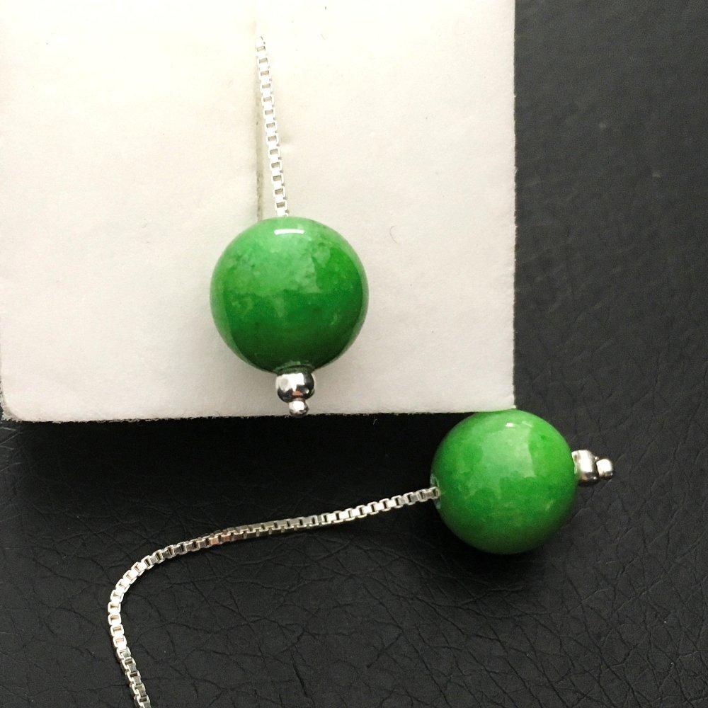 Boucles d'oreilles boule pierre naturelle agate vert pomme chainettes argent 925/000