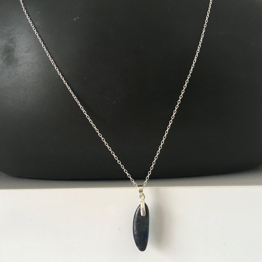 Collier pendentif petite goutte pierre naturelle lapis lazuli et argent 925  sur chaine 42 cm