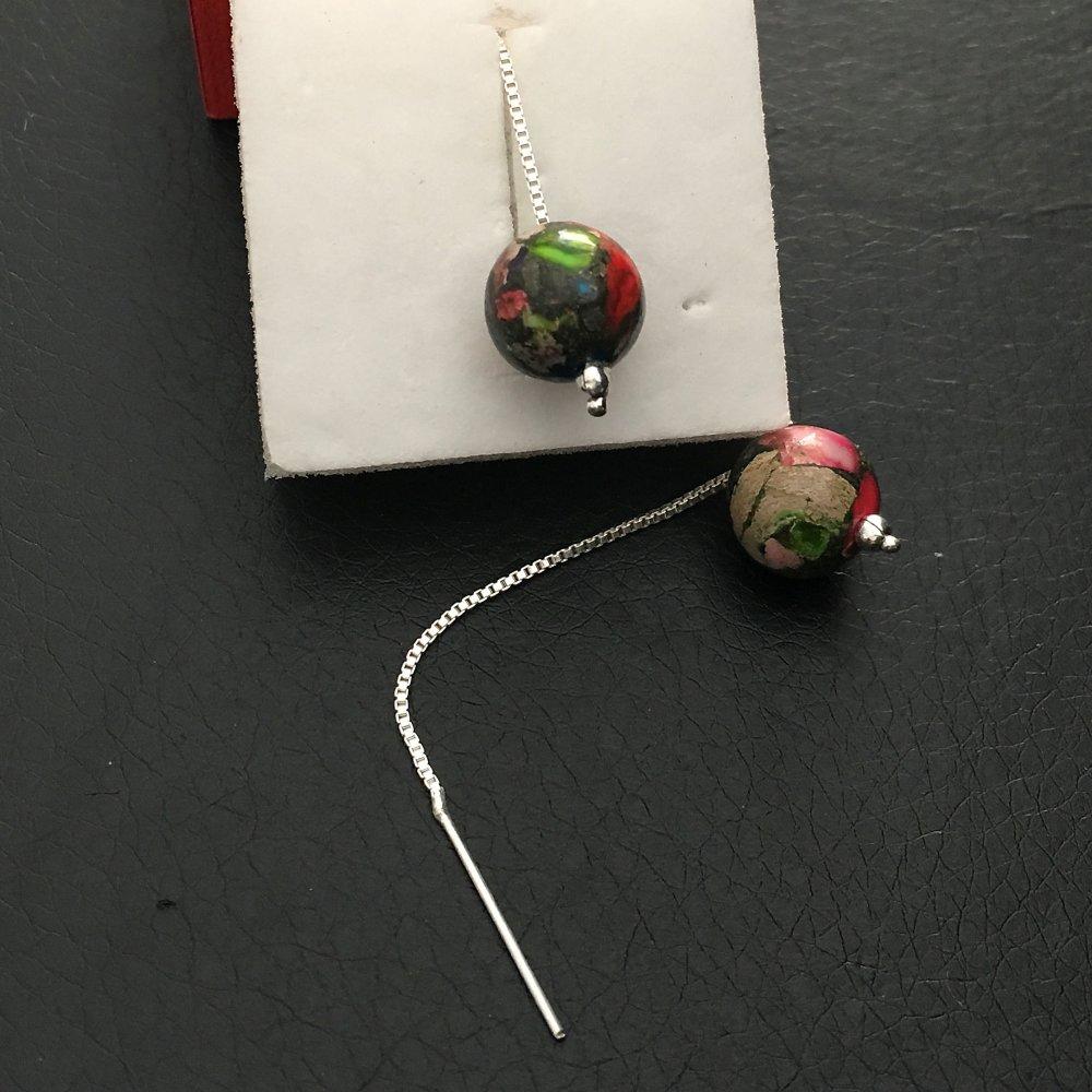 Boucles d'oreilles pierres naturelles boule jaspe multicolore chainettes argent 925/000 115/2