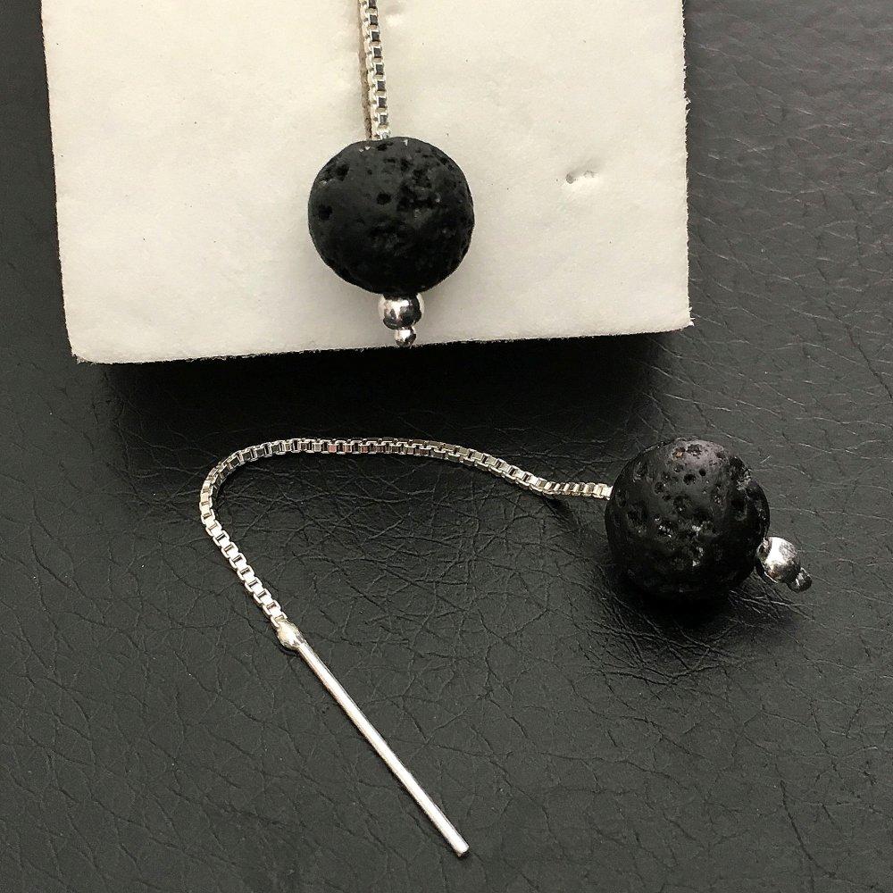 Boucles d'oreilles chainettes argent 925/000 pierre de lave boule naturelle diamètre 8 mm