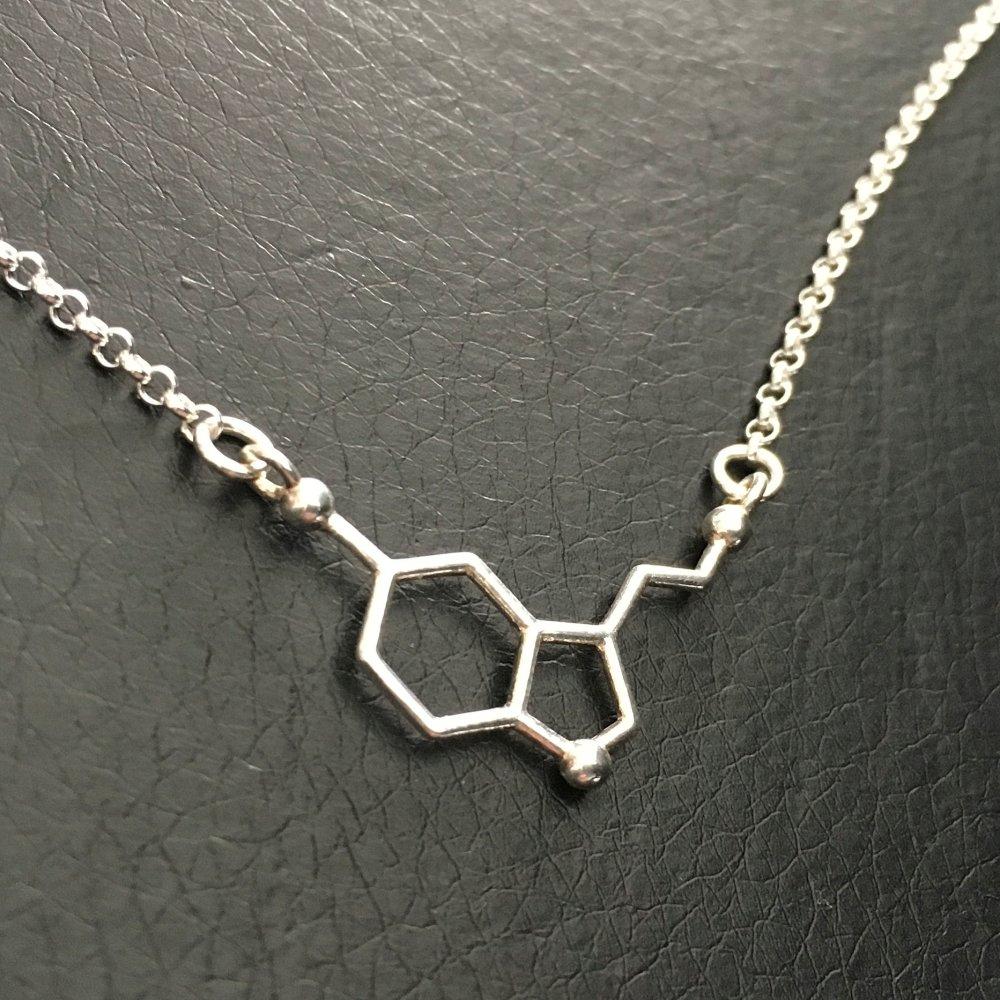 Collier argent 925/000 molécule sérotonine hormone heureux collier du bonheur