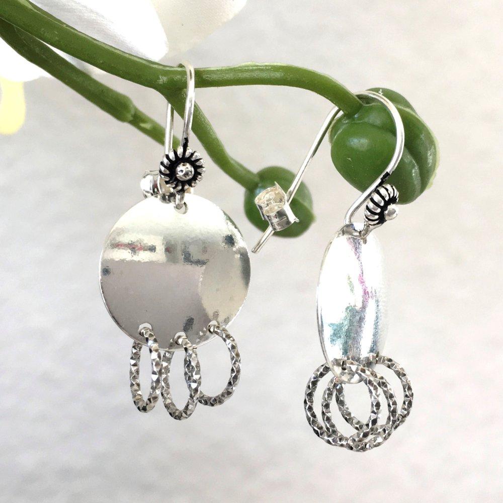 Boucles d'oreilles pendantes argent 925/000 pampilles multi anneaux