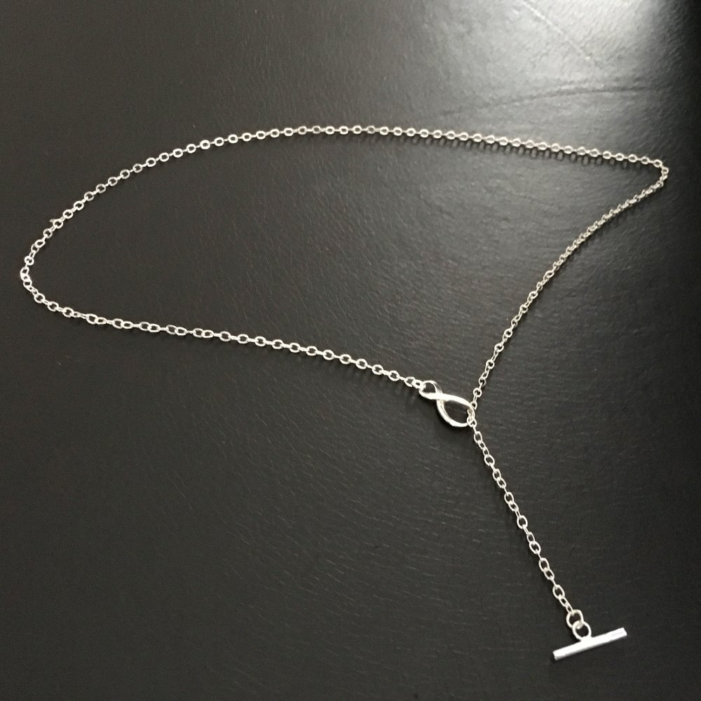 Collier infini argent 925/000 fermoir toggle à porter en chaine ou collier pendentif cravate
