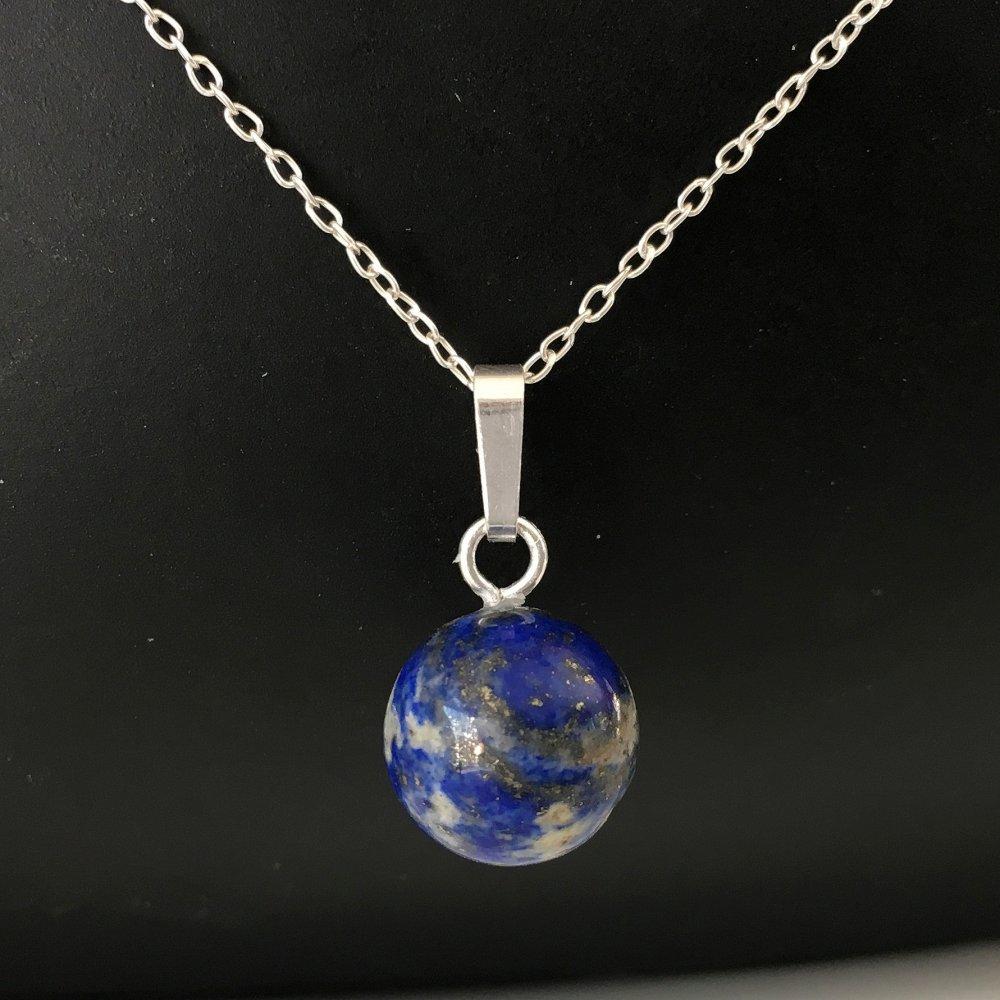 Collier pendentif pierre naturelle lapis lazuli et argent 925/000 globe sur fine chaine 42 cm