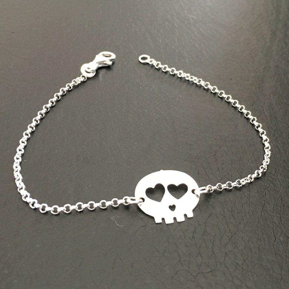 Bracelet crâne tête de mort argent massif 925/000 longueur 18 cm
