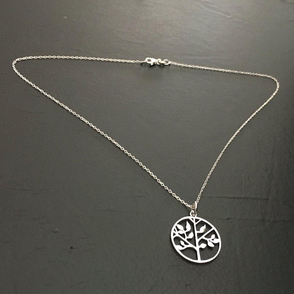 Collier pendentif arbre de vie argent massif 925 sur fine chaine 42 cm