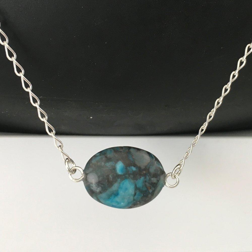 Collier argent 925/000 pendentif pierre naturelle jaspe bleu veiné longueur 42 cm