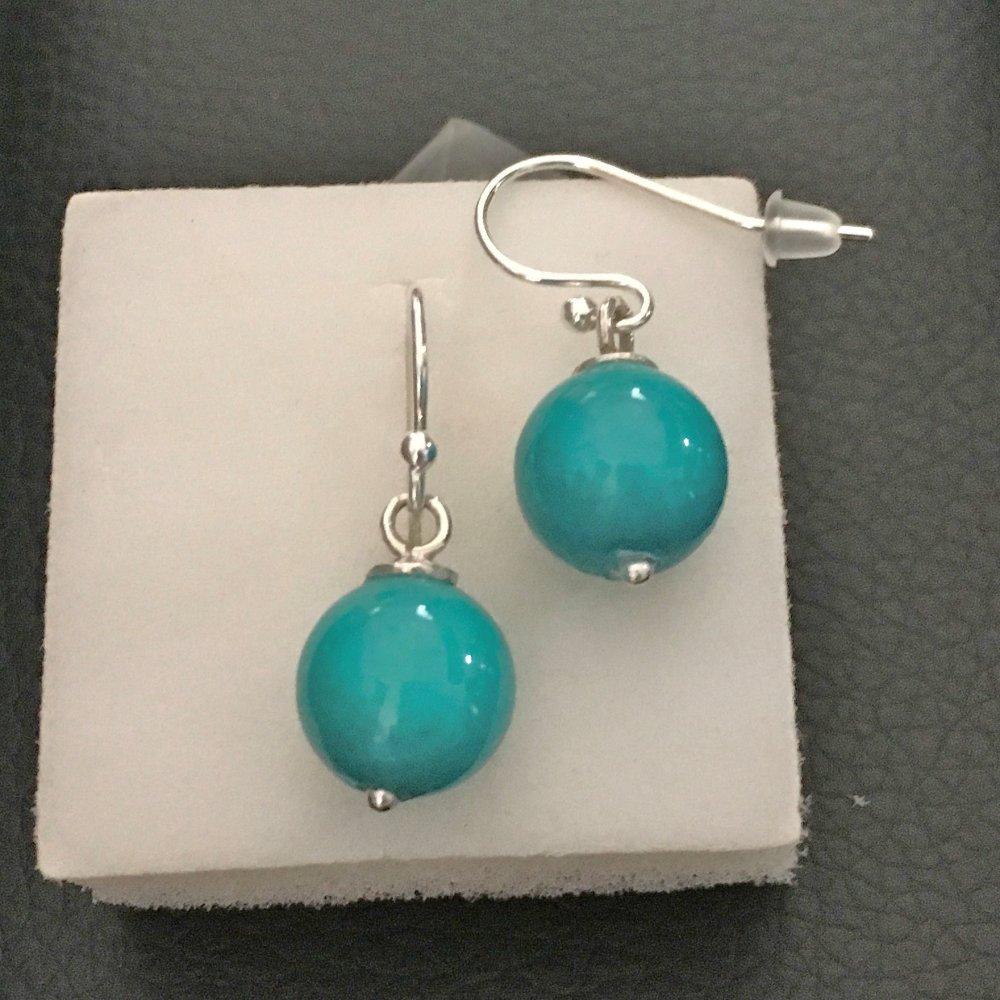 Boucles d'oreilles argent 925/000 pierre naturelle jade bleu turquoise