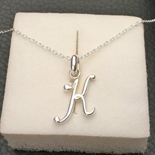 Collier initiale argent 925/000 pendentif lettre k minuscule sur fine chaine longueur 42 cm argent 925