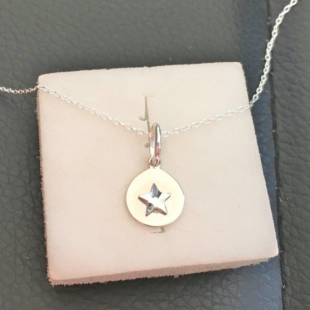 Collier argent 925/000 pendentif petite étoile Swarovski sur fine chaine ras de cou 38 cm