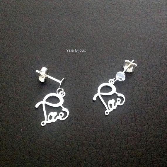 Boucles d'oreilles argent 925 jolis clous pendants Love fermoir tige poussette