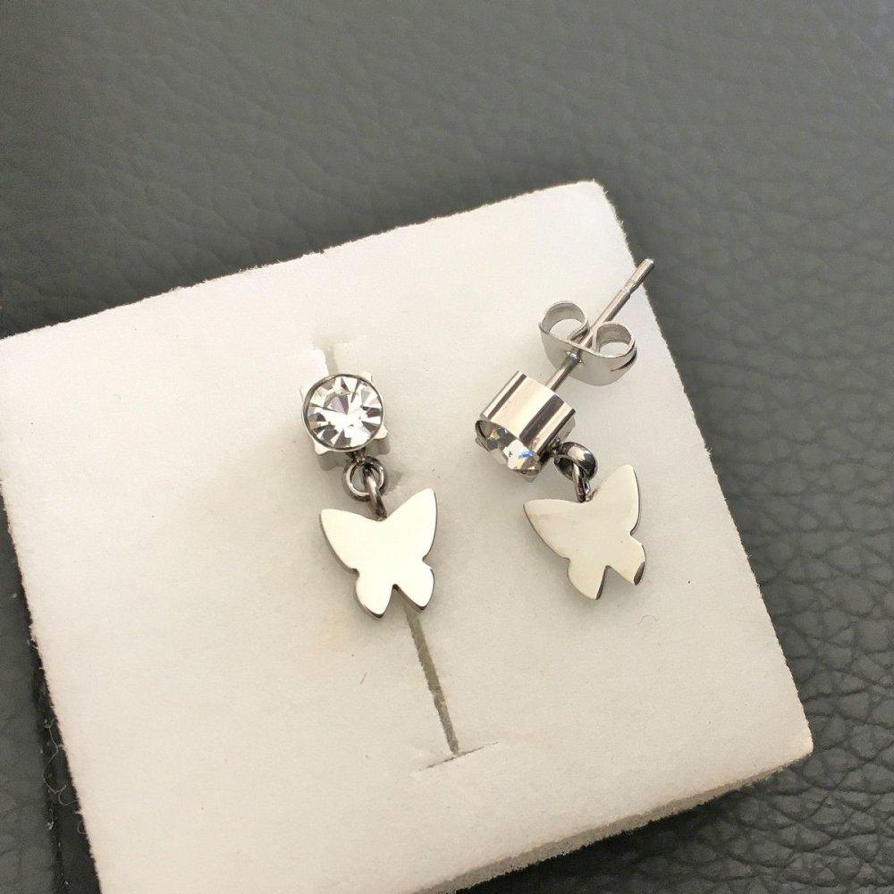 Boucles d'oreilles papillon en acier chirurgical et zirconium fermoir tige/poussette