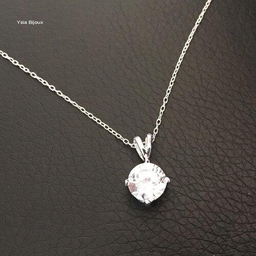 collier argent avec zirconium
