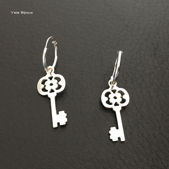 Boucles d'oreilles créoles en argent 925 pendants clefs anneau 12 mm ouverture charnière