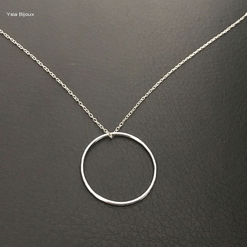 collier argent pendentif rond