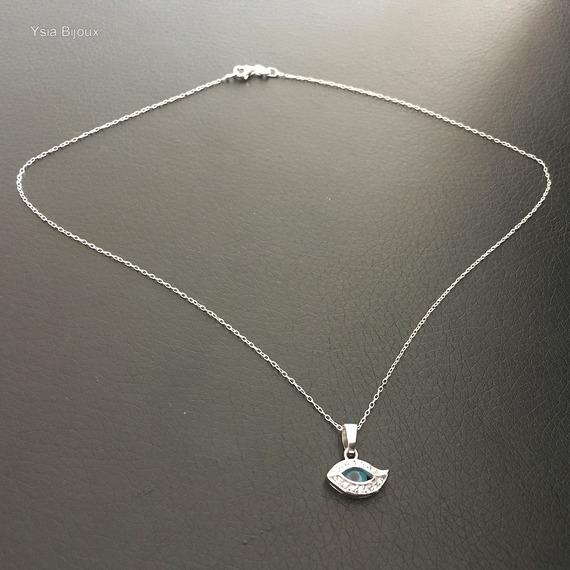 Collier pendentif oeil bleu en argent 925 sur fine chaine longueur 42 cm argent 925
