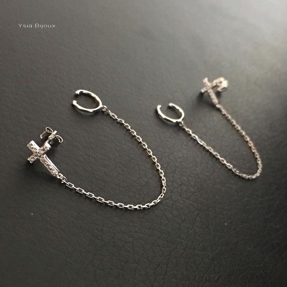 Boucles bagues d'oreilles croix en argent massif 925/000 et zirconium puces croix bagues chainettes