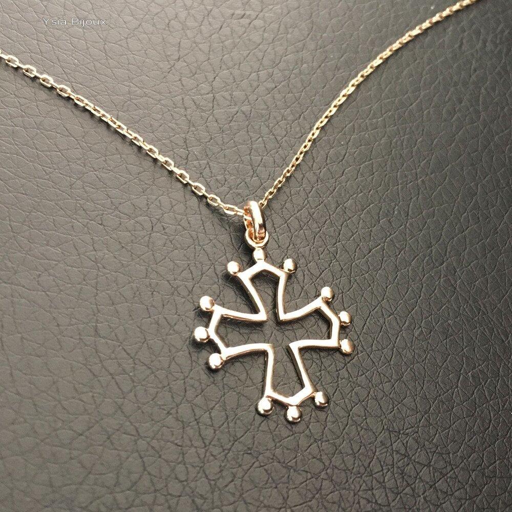 Collier pendentif croix occitane en plaqué or 18 carats sur chaine longueur 42 cm plaqué or 18 carats