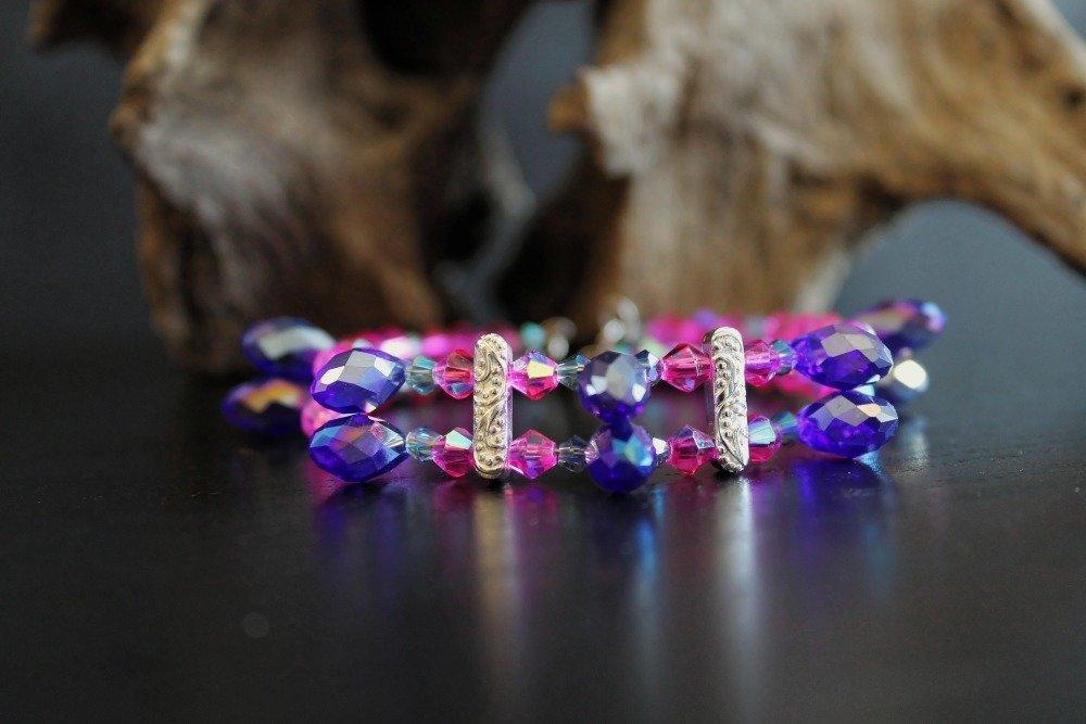 Bracelet fil mémoire avec perles à facettes et gouttes