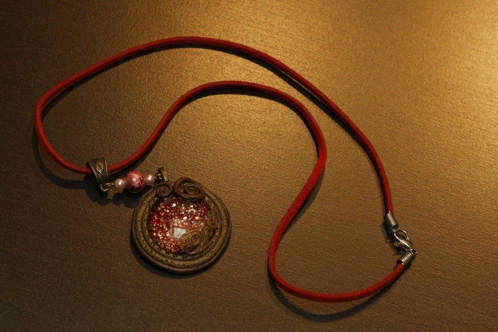 collier médaillon cabochon vintage steampunk