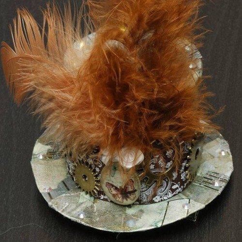 Bibi, chapeau haut de forme style victorien, vintage, steampunk, avec cabochon papillon et nombreux engrenages